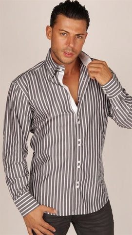 Preview Mens Grey White Thick Stripe Contrast Dress Shirt