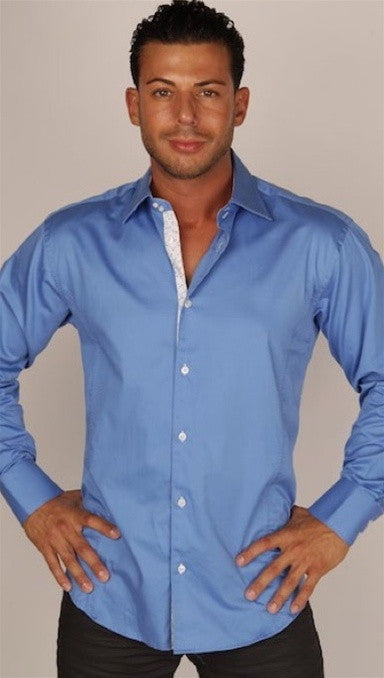 Preview Mens Blue Dress Shirt w/ White Pattern Contrast