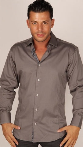 Preview Mens Ash Dress Shirt w/ Black Pattern Contrast