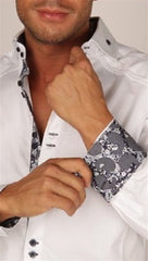Preview Mens White Dress Shirt w/ Grey Pattern Contrast