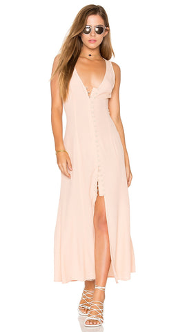 Privacy Please Lomax Dress Blush Pink Button Front