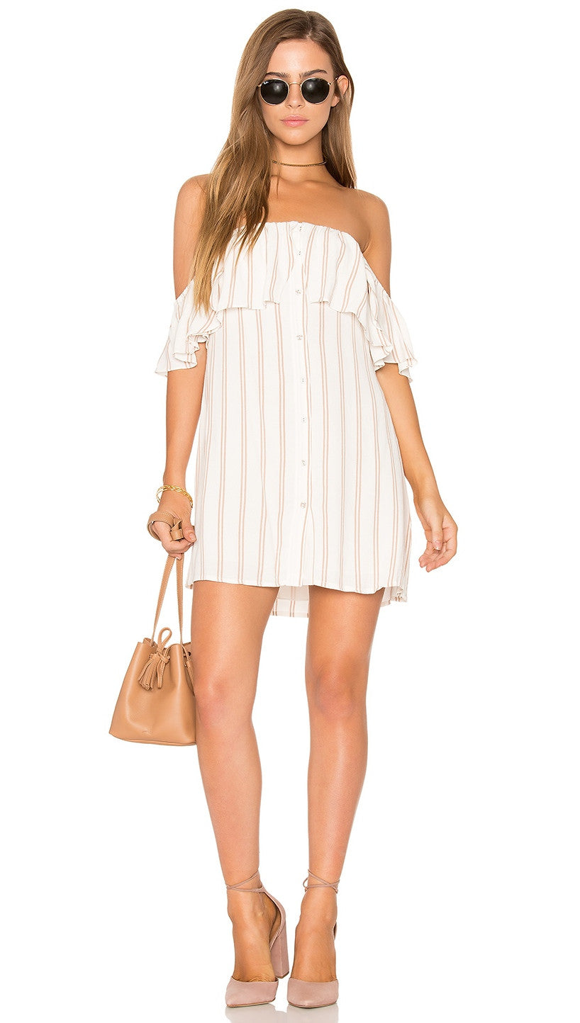 Privacy Please Norval Dress Creme Off Shoulder Button Stripe Flutter Sleeves