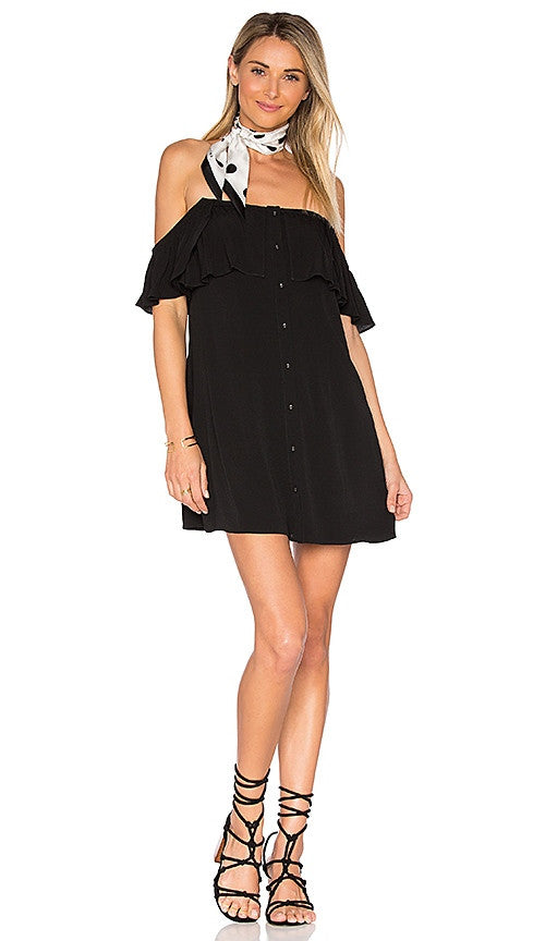 Privacy Please Norval Dress Black Draped Off Shoulder Button Beach Cover Up Mini