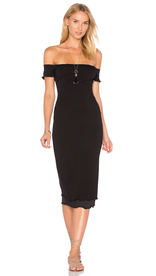 Privacy Please Caperton Midi Dress Black Off The Shoulder
