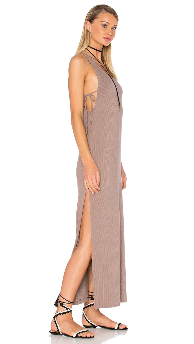 Privacy Please Peale Cut Out Ties Slit Maxi Dress