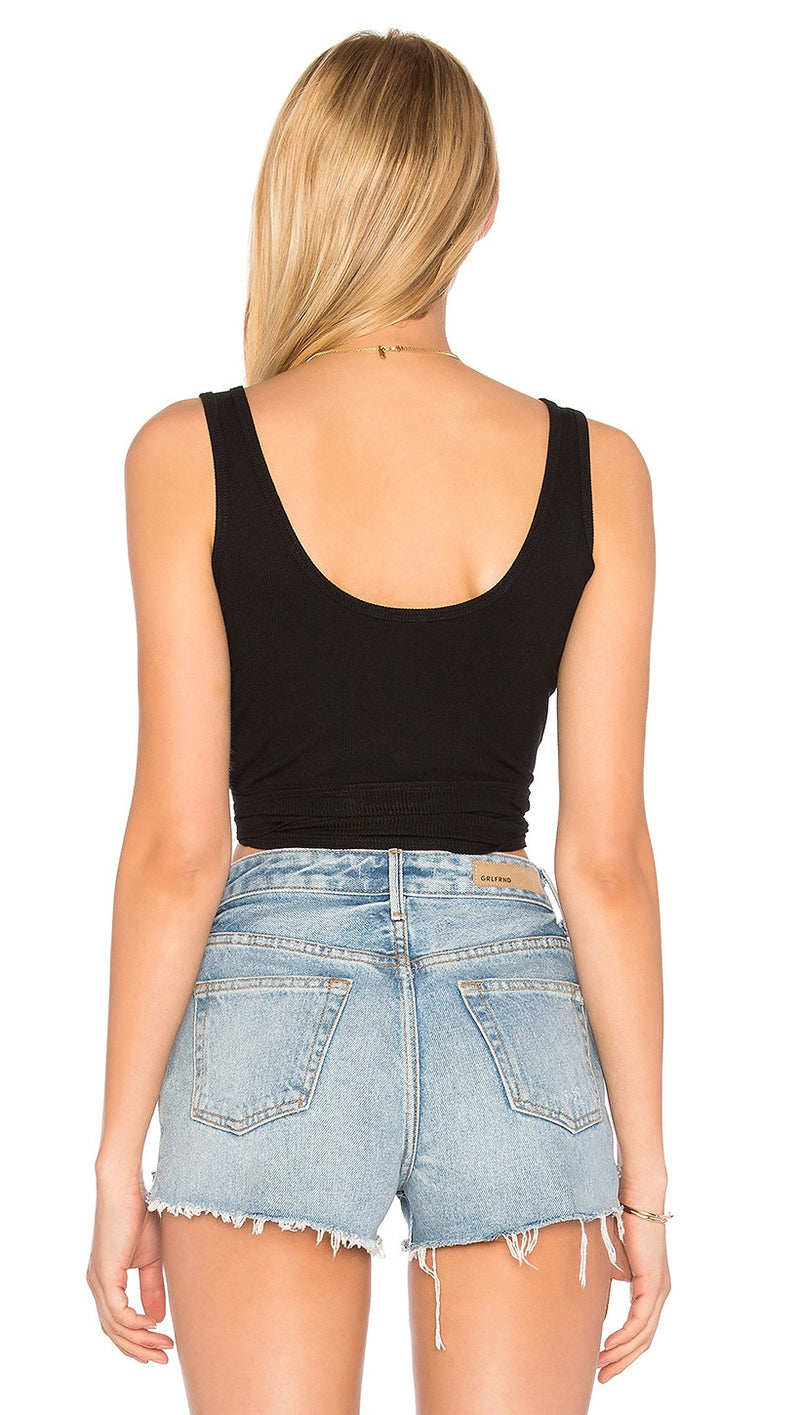 Orion RIbbed Wrap Crop Knit Tank Top Black Scoop Back Olivaceous ShopAA