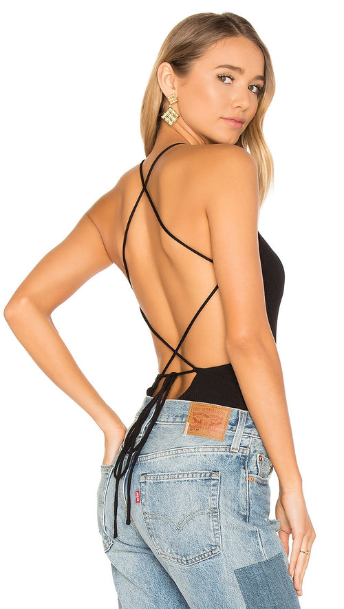 Amble Bodysuit Black Privacy Please Lace Up Tie Open Back