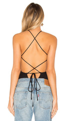 Amble Bodysuit Black Privacy Please Lace Up Open Back l ShopAA