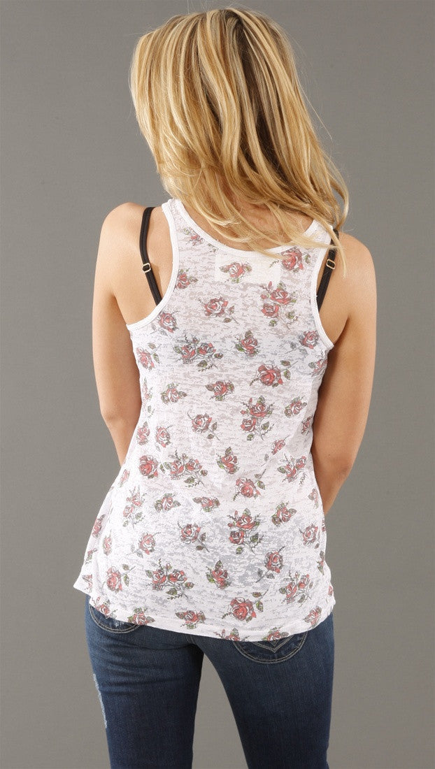 Public Library Ditsy Rose Pocket Burnout Tank in Linen