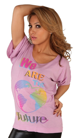 Public Library We Are The Future Rainbow Earth Heart Short Sleeve Tee Pink …