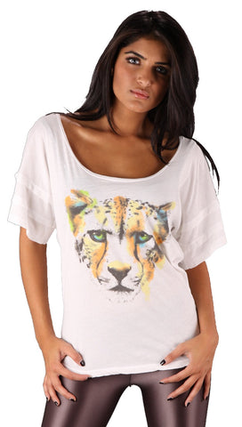 Public Library Spotted Cheetah Head Short Sleeve Tee Shirt White