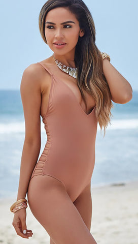 Peony Deep V Strappy Cut Out Sides One Piece Swimwear Dusty Rose Beige Taupe Chynna Dolls