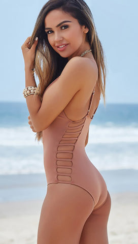 Peony Deep V Strappy Cut Out Sides One Piece Dusty Rose Beige Taupe Swimwear Chynna Dolls