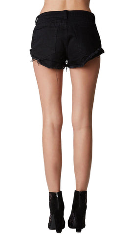 Free Bird Flower Embroidered Denim Shorts Black Exposed Pockets
