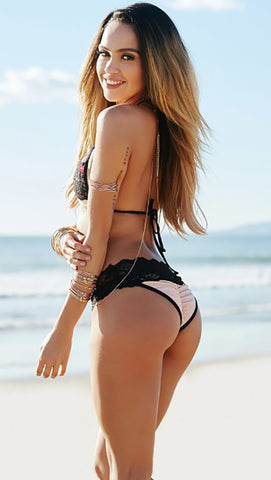 Maui Blush & Black Triangle Lace Band Scrunch Butt Sexy Bikini