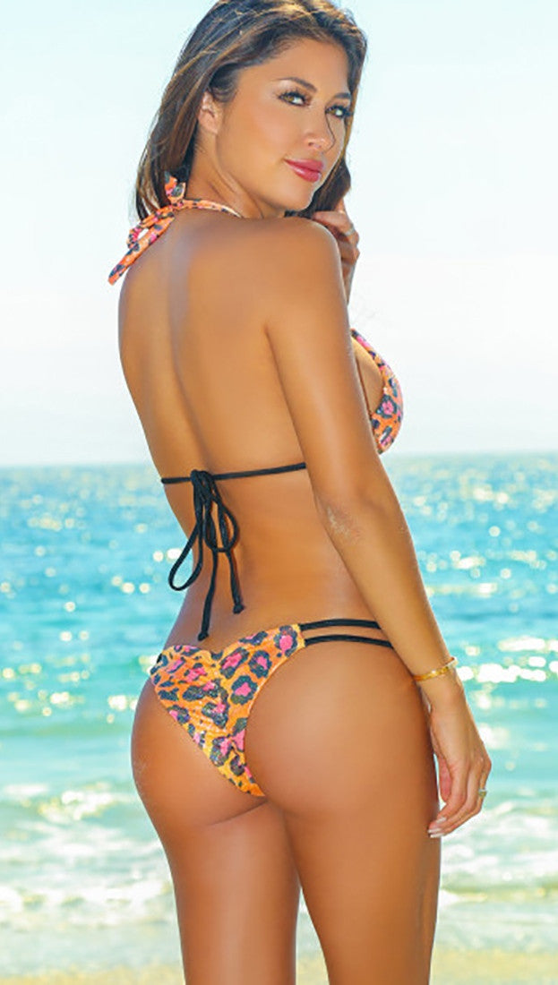 Orange Pink Leopard Print Shimmer Double Black Strap Micro Bikini Swim
