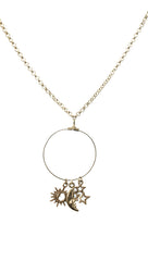 Apparel Addiction Jewelry Sun Moon and Star Necklace in Gold