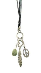 Apparel Addiction Jewelry Peace Love and Gemstone Gold Necklace