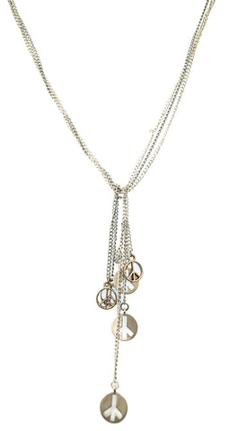 Apparel Addiction Jewelry Peace Sign Charm Knot Chain Necklace