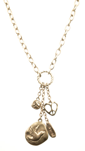 ShopAA Gold Peace Dove Love Heart Gold Charm Necklace