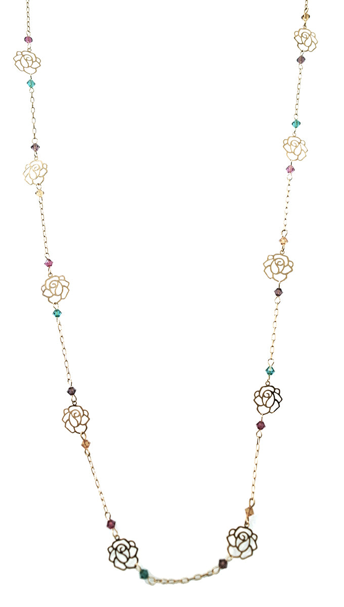 ShopAA Gold Rose Cutout Rainbow Stone Necklace …