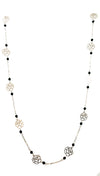 Gold Cut Out Rose Necklace Black Beads