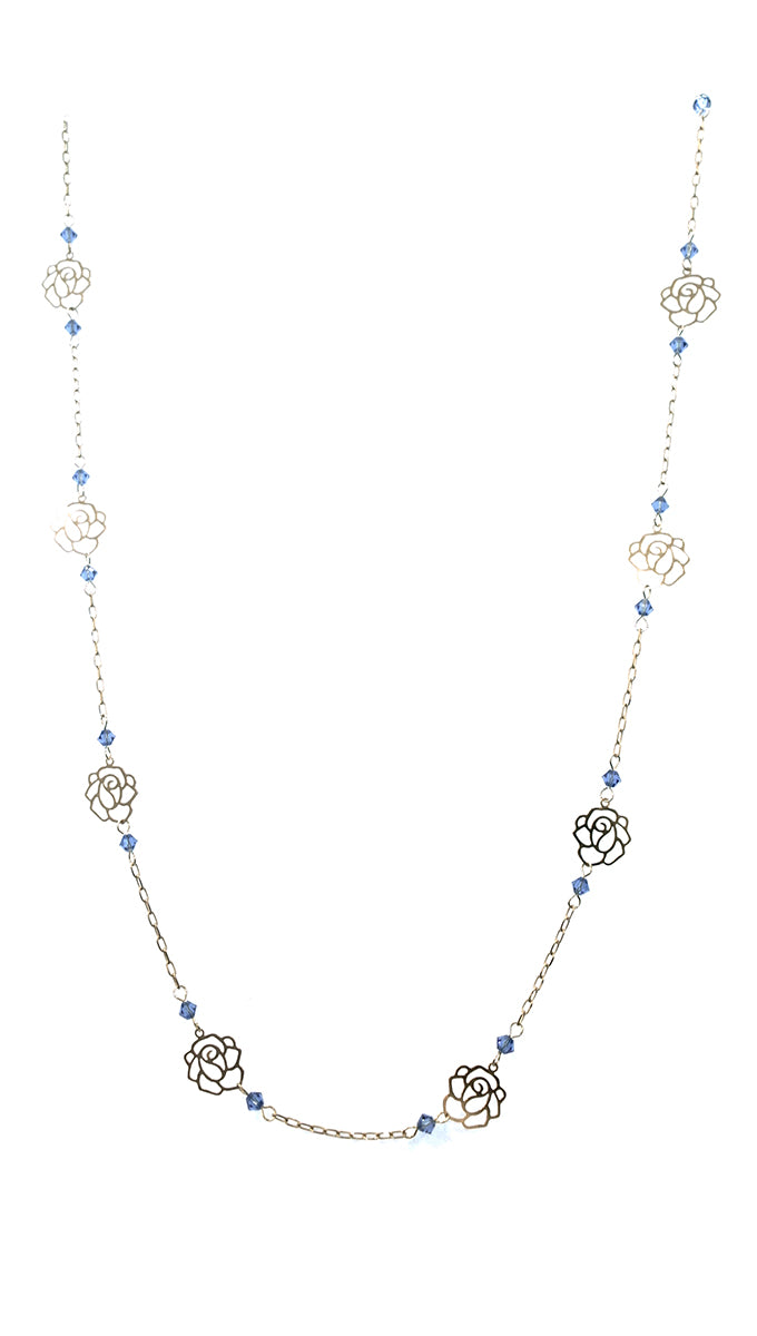 Apparel Addiction Rose Cut Out Blue Bead Necklace