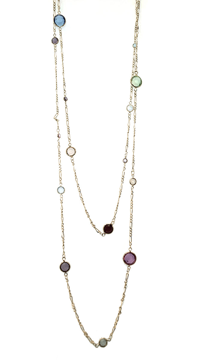 Apparel Addiction Multicolor Stone Wrap Gold Chain Necklace
