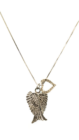Apparel Addiction Silver Angel Wings Rhinestone Gold Heart Charm Necklace