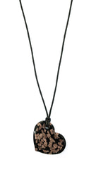 ShopAA Jewelry Gold Shimmer Glass Heart Necklace Black