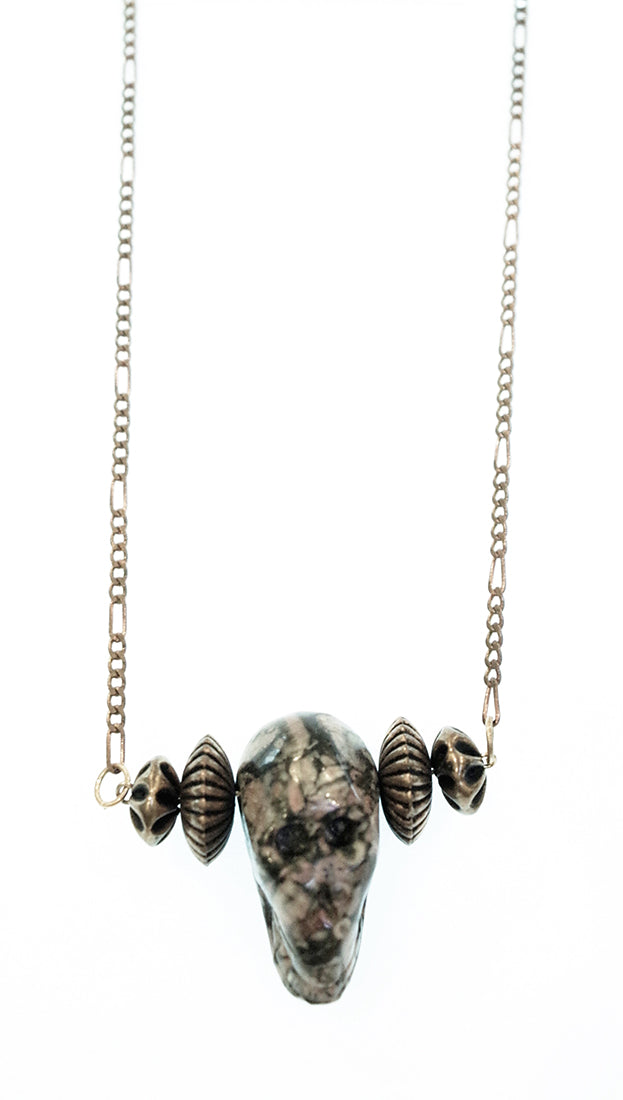 Lynnie B. Multi-Colored Stone Skull Bead Necklace Jewelry