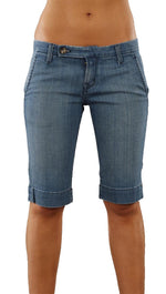 Raven Denim Kat Capri Shorts Jeans Braided Pockets Cabana