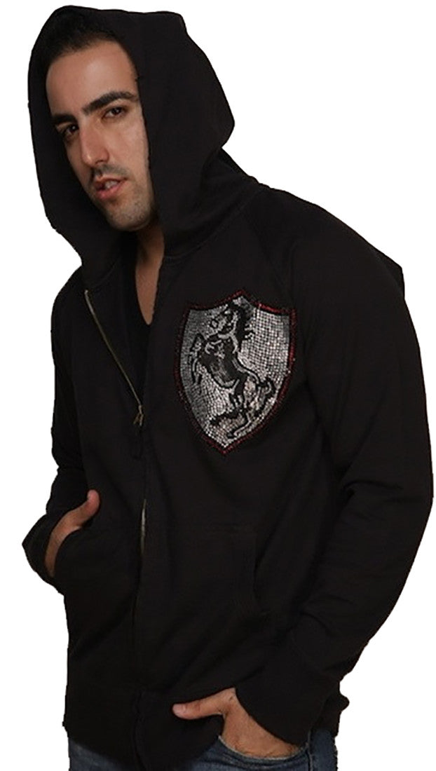 Rawyalty Ferrari Stallion Freedom Rhinestone Zip Up Hoodie Sweatshirt Black