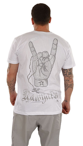 Rawyalty Mens Rock On Hang Loose Rosary Rhinestone Tee Shirt in White