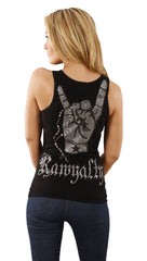 Rawyalty Rock On Rosary Rhinestone Ribbed Cotton Tank Top Shirt in Black