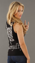 Rawyalty Rock On Rhinestone Ribbed Tank in Black