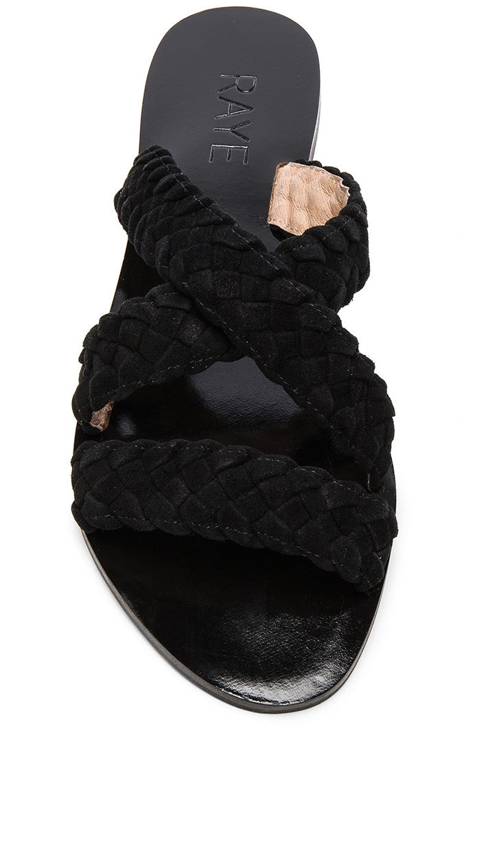 Raye Sahara Sandal Black Braided Suede Slip On Shoes