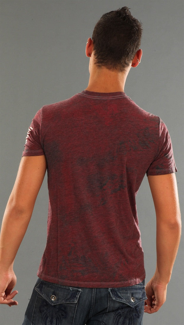 Rebel Yell Same Shirt V Neck Tee in Heather Red