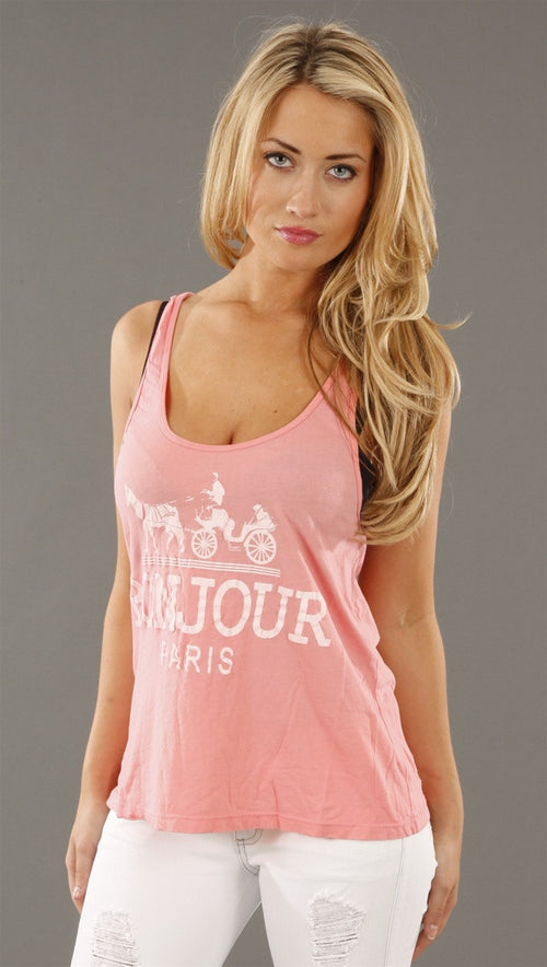 Rebel Yell Bonjour Paris Scrunchie Racerback Tank in Heather Pink