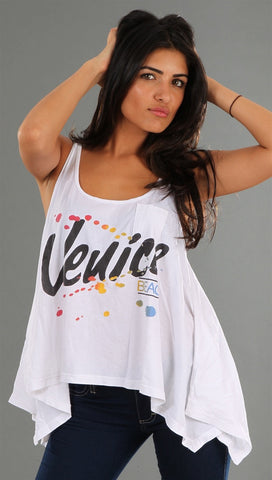 Rebel Yell Venice Hankie Tank in White