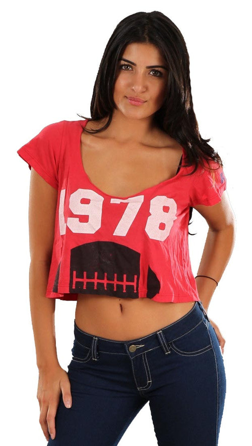 Rebel Yell 1978 Football Boyfriend Crop Tee in Red