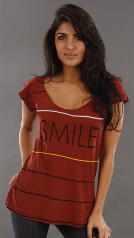 Rebel Yell Smile Tee in Burgundy