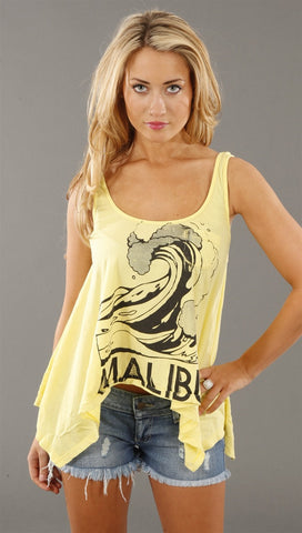 Rebel Yell Malibu Wave Hankie Tank in Pale Yellow