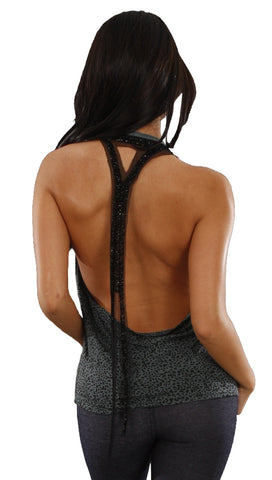 Religion Sparkle Sequin Tail Open Back Halter Tank in Gray Leopard