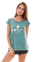 Rebel Yell Perfect Torn Tee in Seafoam