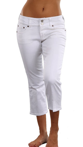 Red Engine Capri Jeans in White