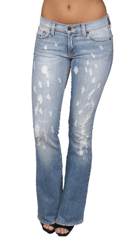 Red Engine Denim Sexy Slice Distresse Ripped Jeans Light Blue Wash