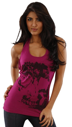 Religion X-Ray Skull Head Racerback Bead Detail Tank in Violet Pink
