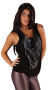 Religion Chain Pearl Necklace Top Black Tank