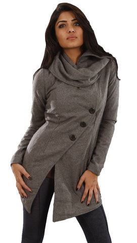 Religion Simple Wool Blend Fashion Transitional Coat in Gray